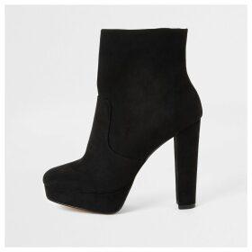 River Island Womens Black faux suede platform wide fit boots