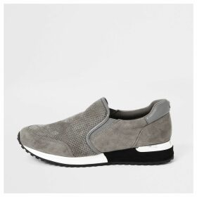 River Island Womens Grey perforated runner trainers
