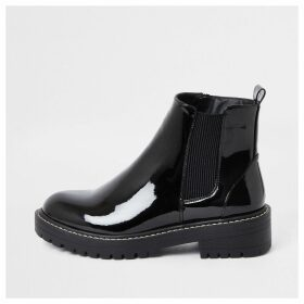 River Island Womens Black wide fit chunky patent boots