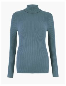 M&S Collection Ribbed Polo Neck Jumper