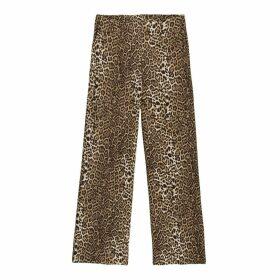 Wide Leg Trousers in Leopard Print, Length 27.5