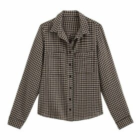 Cotton Checked Shirt with Long Sleeves and Pocket