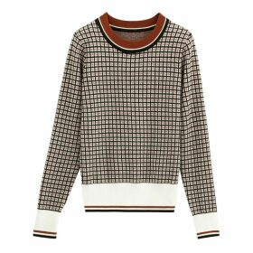 Jacquard Checked Jumper with Crew Neck
