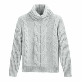 Chunky Cable Knit Jumper with Roll Neck