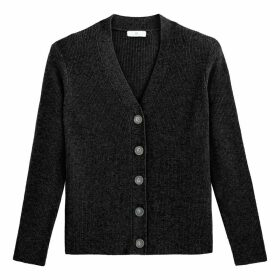 Cashmere Ribbed Cardigan in Fine Knit