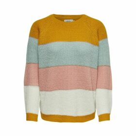 Chunky Knit Jumper with Metallic Rainbow Stripes