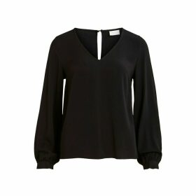 V-Neck Blouse with Dip Hem and Long Sleeves