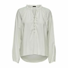 Buttoned Peasant Blouse with Ruffled High Neck