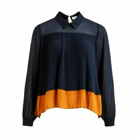 Pleated Shirt Collar Blouse