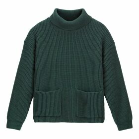 Chunky Knit Ribbed Jumper with Roll Neck and Pockets