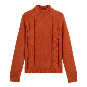 Chunky Cable Knit Jumper with High-Neck