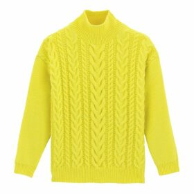 Chunky Cable Knit Oversized Jumper with High Neck