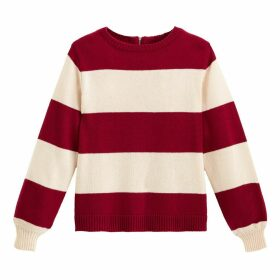 Breton Striped Jumper with Crew Neck and Zipped Back
