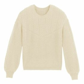 Chunky Knit Openwork Ribbed Jumper with Puff Sleeves and Round Neck