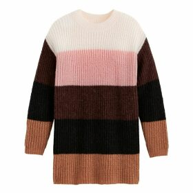 Long Striped Colour Block Jumper with Round Neck