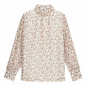 Floral Print Blouse with High Neck and Long Sleeves