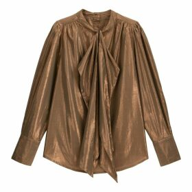 Metallic Pussy-Bow Blouse with Long Sleeves