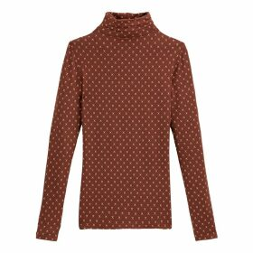 Printed Roll Neck T-Shirt with Long Sleeves