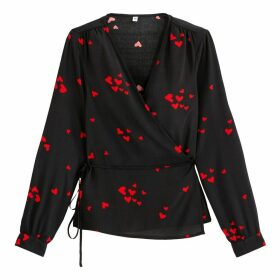 Wrapover Blouse with Printed Hearts