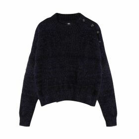 Buttoned Shoulder Jumper with High Neck