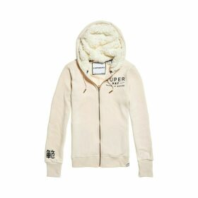 Applique Zip-Up Hoodie in Cotton Mix with Faux Sheepskin Lining
