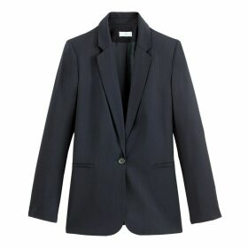 Straight Cut Single-Breasted Blazer with Pockets