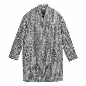Oversized Herringbone Coat with Pockets