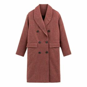 Wool Mix Double-Breasted Coat in Check Print