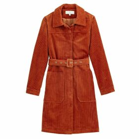 Corduroy Trench Coat with Belt