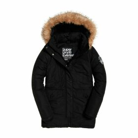 Ashley Everest Mid-Length Parka with Faux Fur Hood and Pockets