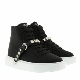 Prada Boots & Booties - Studded Strap High-Top Sneakers Black/White - black - Boots & Booties for ladies