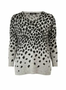 Grey Animal Print V-Neck Jumper, Grey