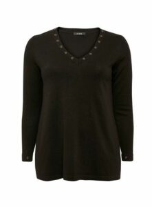 Black Eyelet V-Neck Jumper, Black