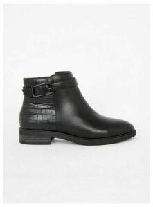 Wide Fit Black Crocodile Detail Ankle Boots, Black