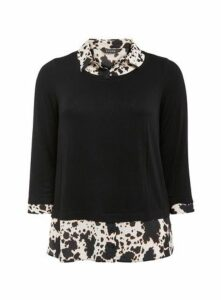 Black Animal Print 2 In 1 Shirt, Black