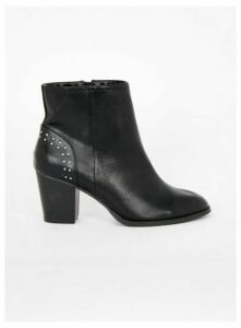 Extra Wide Fit Black Studded Ankle Boots, Black