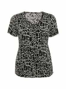 Black Animal Print V Neck Top, Black