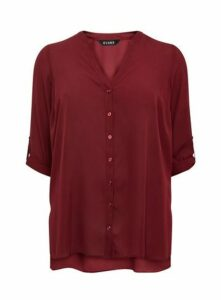 Red Button Front Detail Shirt, Wine
