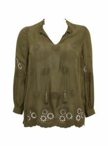 Khaki Embroidered Detail Blouse, Khaki