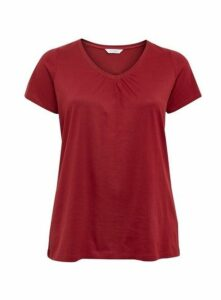 Red V-Neck Cotton T-Shirt, Red