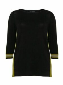Black Side Stripe Button Jumper, Black