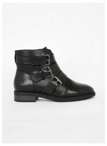 Extra Wide Fit Black Three Strap Buckle Ankle Boots, Black