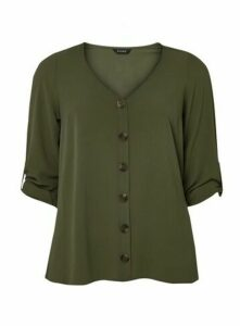 Khaki V-Neck Button Shirt, Khaki