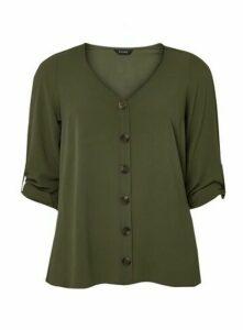 Khaki V-Neck Button Shirt, Khaki