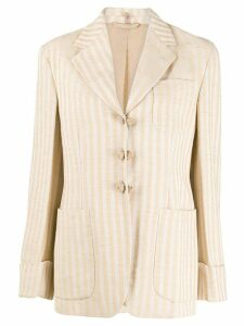 Romeo Gigli Pre-Owned 1990s striped blazer - NEUTRALS
