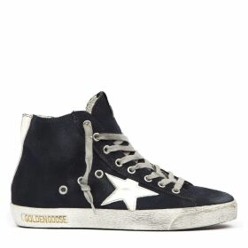 Golden Goose Super Star Navy Blue High Top Suede Sneaker