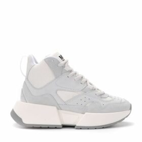 Mm6 Maison Margiela High-top Sneaker In Suede And White Fabric