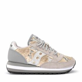 Saucony Sneaker Jazz Triple Model In Beige And Gray Suede With Python Effect