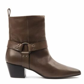 Marc Ellis Brown Leather Buckled Ankle Boots