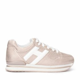 Hogan Sneaker Model H222 In Pink Metallic Leather With H In White Leather